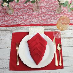 Red Placemat 12 x 16 inches, Red Fabric Placemats for Weddings, Hotels, Catering Events and Restaurants, Wedding Table Decor