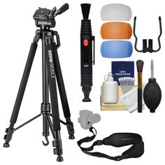 """Sunpak 6630LX 66"""" Photo / Video Tripod with Smartphone and GoPro Adapters with Sling Strap + Flash Diffusers + Cleaning Kit"""
