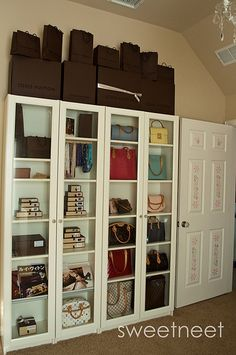 Sweetest ever idea for handbag storage or accessory Closet made using Ikea Billy - IKEA Ikea Pax Wardrobe, Ikea Closet, Wardrobe Storage, Closet Storage, Bedroom Storage, Closet Doors, Bag Closet, Ikea Bedroom, Bedroom Art