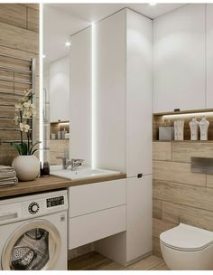 Great DIY renovations, and makeover tips including organization and storage solutions for large and small bathroom in your house. Bathroom Toilets, Laundry In Bathroom, Budget Bathroom, Bathroom Spa, Bathroom Vanities, Bathroom Storage, Bathroom Ideas, Bathroom Things, Compact Bathroom