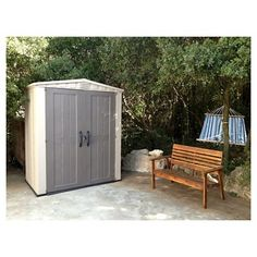 Factor Large Resin Outdoor Storage Shed 8X11 - Taupe/Beige - Keter Beige/  sc 1 st  Pinterest & Low Height Shed u2013 Suncast Glidetop Shed. Low Maintenance Easy to ...