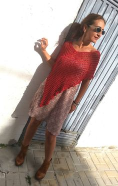 You can wear this red lace cover up with a dress or a simple T-shirt (photo 2) it will adorne whatever you wear.  This summer poncho can be used for a