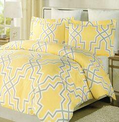 Max Studio Large Geometric Lattice Pattern Moroccan Tills Full / Queen Duvet Cover and Shams 3pc Set Grey Yellow Gray White (Queen) Max Studio Home http://www.amazon.com/dp/B0115FQYOE/ref=cm_sw_r_pi_dp_WJpOvb1936EW4
