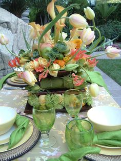 This centerpiece is SO unique! The wild tulips add a touch of whimsy.