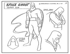 Space Ghost 1980's model sheet for Cartoon Series