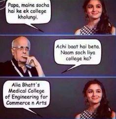 Alia Bhatt Jokes In hindi Real Funny Jokes, Most Hilarious Memes, Sarcastic Jokes, Funny School Jokes, Funny Facts, Funny Relatable Memes, Exams Funny, Crazy Jokes, Creepy Facts