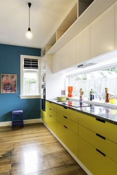 Looking along the kitchen at those striking Resene Hive cabinets. The far wall is in Resene Seeker. Project by Lou Barker. Retro Ideas, Bespoke Furniture, Colorful Furniture, Soft Furnishings, Custom Design, Kitchen Cabinets, Interior Design, The Originals, Scarlet