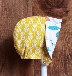 Organic Cotton Folksy Art Deco Reversible Sun Bonnet by beek