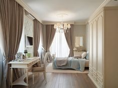 taupe & blue bedroom