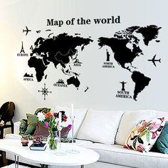 Cheap classroom decoration, Buy Quality school classroom decorations directly from China map wall sticker Suppliers: modern world map wall stickers stencil black vinyl mural decals man home living room office school classroom decor Wall Stickers Map, World Map Sticker, World Map Wall Decal, Removable Wall Stickers, Wall Stickers Home Decor, Vinyl Wall Decals, Vinyl Art, Pvc Vinyl, Sticker Vinyl