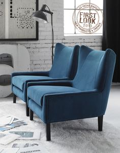 Cool blues at #lvmkt Jan28-Feb1 - @GROMANOINC to present Dakota modern wingback and more hot seats this winter