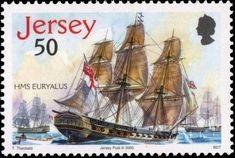 Stamp: Euryalus (Jersey) (Trafalgar) Mi:JE 1210,Yt:JE 1242 Ship Paintings, Postage Stamps, Sailing Ships, Battle, Boats, Album, Seals, Stamps, Ships