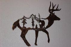 Deer With Mountain Scene Create Name, Rustic Western Decor, Rustic Walls, Wall Sculptures, Metal Wall Art, Deer, Moose Art, Mountain, Wall Decor