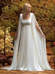 Custom Stunning New Mediaeval Long Sleeves Chiffon Bridal Wedding Dress Gown