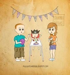 El primer cumpleaños  http://pulguiteando.blogspot.com.es/2016/06/mi-primera-tortilla-de-patatas.html #maternity #maternidad #ilustración #dibujo #draw #childhood #niños #infancia #maternidadilustrada