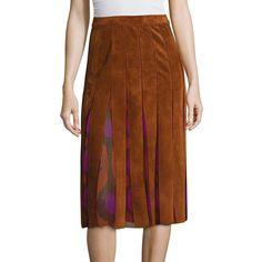 Diane von Furstenberg Melita Suede & Silk Chiffon Skirt ($239) ❤ liked on Polyvore featuring skirts, apparel & accessories, whiskey brown, silk chiffon skirt, brown pleated skirt, diane von furstenberg skirt, pleated skirt and suede skirt