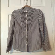 Career Casual XS Button Down Shirt L/S Gray Career Casual XS Button Down Shirt Gray white Pinstripe Placket Bib Front Long Sleeve or cute rolled up! by GAP Fitted Princess Seams Polyester Cotton Blend EUC Trades GAP Tops Button Down Shirts