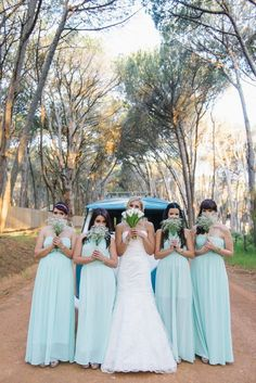 Mint blue bridesmaid dresses. ite and Gold DIY Chevron Wedding, South Africa, by Claire Thomson Photography @claireshaped