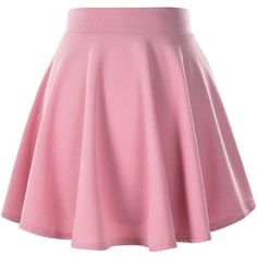 Women's Basic Solid Versatile Stretchy Flared Casual Mini Skater Skirt ($9) ❤ liked on Polyvore featuring skirts, mini skirts, pink skirt, pink circle skirt, circle skirts, skater skirt and stretch skirts