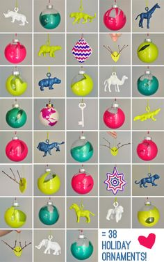 DIY Lots and lots of cheap but great looking ornaments that you can paint yourself. #diy #crafts #plastic #ornaments #christmas #holidays #paint #spray_paint #balls #animals