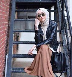 Hijab Style, Hijab Chic, Islamic Fashion, Muslim Fashion, Hajib Fashion, Fashion Outfits, Hijab Trends, Modest Fashion Hijab, Leather Jacket Outfits