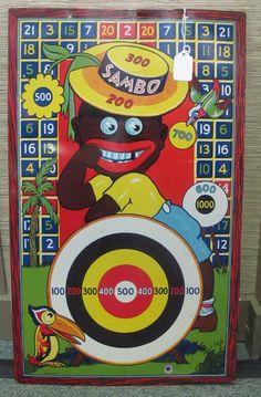 1932 Wyandotte Little Black Sambo Metal Dart Board