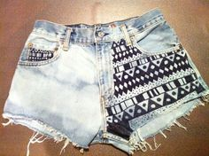 High Waist Bleached and Patterned shorts