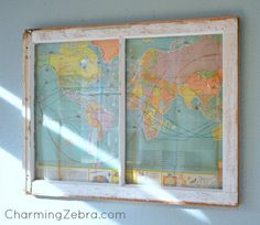 Mine had six panes so I did one for each family birth then one for our last moves. It's amazing and gets contact comments. Reuse Old Window Frames - DIY Ideas - MB Desire - Love this idea.both for the window frame & the map