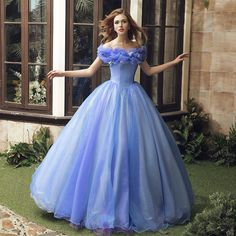 2015 NEW Movie Sandy Princess Cinderella Princess Dress Cosplay Costume Adult Quince Dresses, Ball Dresses, Bridal Dresses, Ball Gowns, Prom Dresses, Dress Prom, Sweet 16 Dresses, Sweet Dress, Pretty Dresses
