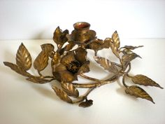 Gold Sculptured Candle Holder ~ Dogwood Flowers metal Centerpiece ~ Made in Italy by chloeswirl on Etsy