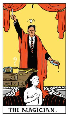 "Agent Dale Cooper as The Magician tarot card by Benjamin Mackey. ""Through the darkness of future past: The magician longs to see."""