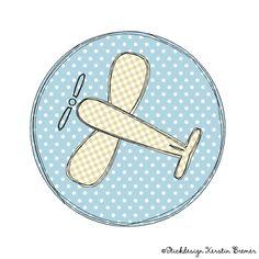 Flugzeug Doodle Button Stickdatei - oder so fürs Reiseetui?