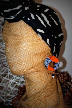 Boucles d'oreille en tissu Wax connecteur tige perle tube en pâte de verre : Boucles d'oreille par stee