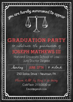 Items similar to Printable Chalkboard Style Law School Graduation Party Invitation on Etsy Senior Graduation Invitations, Graduation Invitation Wording, Nursing Graduation, Graduation Announcements, Graduation Ideas, Graduation Caps, Graduate School, Law School, School Life