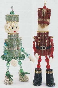 These are AMAZING and I have no intention of making them....just put them into things that could be made. beaded angel patterns | Peyote Tin Soldier & Friend - Patterns by Jill Oxton