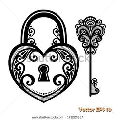Decorated heart padlock