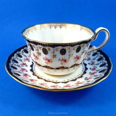 Handpainted Rose & Cobalt Border Wedgwood Tea Cup and Saucer Set