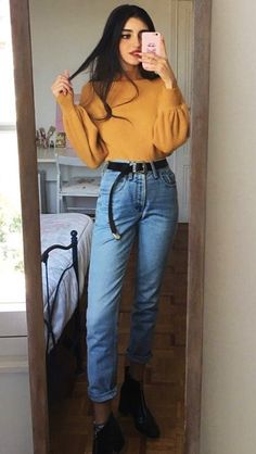 Off shoulder sweater with mom jeans & zipper boots by mari_malibu