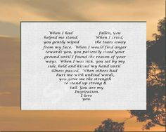 Gift for Mother or Father from Son or Daughter Love Poem 8 x 10