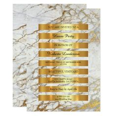 Minimal Luxury Gold Stripes Gray White Marble Vip 13 Cm X 18 Cm Invitation Card