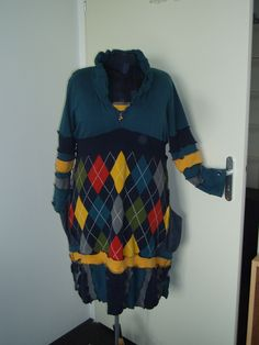 My frist! upcycled dress made from one sweather and two cardicans and two parts of an old jeans.