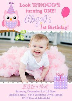 Owl Lavendar Pink 1st Birthday Photo by ShutterbugSentiments, $18.00