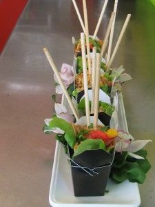 Thai noodle salad recipe served in take out boxes.  Genius!