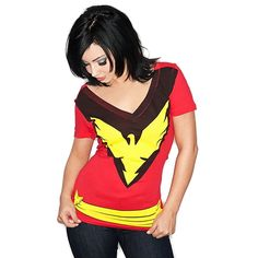 Amazon.com: Dark Phoenix Jean Grey Womens Girls V-Neck Marvel T-Shirt: Clothing