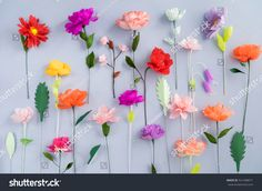 Colourful handmade paper flowers on light blue background