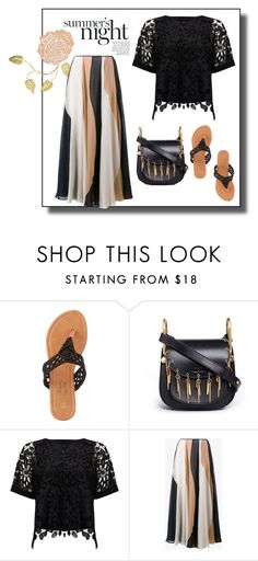 """""""chloe saddlebag w/ lace top & silk midi"""" by rvazquez ❤ liked on Polyvore featuring Retrò, Charles Albert, Chloé, Phase Eight and Roksanda"""