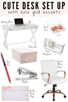 Dec 2019 - Get organized and add some glitz and glam to your home office or work desk with these cute white and rose gold office supplies & desk accessories. Study Room Decor, Room Ideas Bedroom, Bedroom Decor, Work Desk Decor, Rose Gold Room Decor, Rose Gold Rooms, Cute Office Decor, Cute Room Decor, Home Office Design