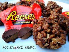 Reese's Peanut Butter Cup Rice Krispies Treats - from Six Sisters' Stuff