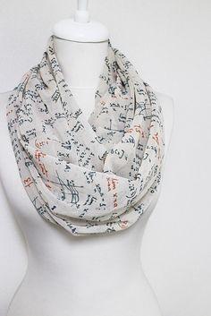 Mathematics Pattern Chiffon Infinity scarf, Circle scarf, Long Scarf, spring - fall - winter - summer fashion by Aslidesign on Etsy https://www.etsy.com/listing/163583046/mathematics-pattern-chiffon-infinity