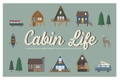 Cabin Life Icon Collection by IconsByKassy on Creative Market Mexican Fonts, Create Icon, Envato Elements, Bold Fonts, Icon Collection, Creative Sketches, Business Card Logo, Plaid Pattern, Graphic Illustration